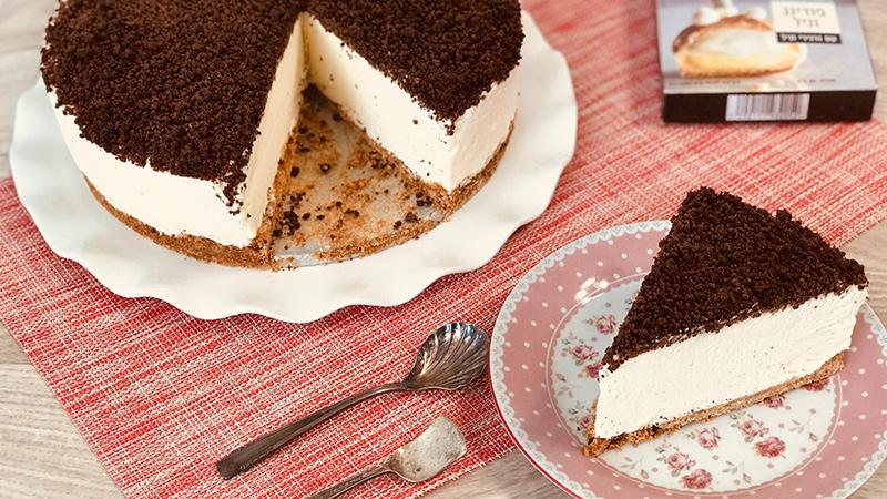 עוגת גבינה פירורים וניל ושוקולד