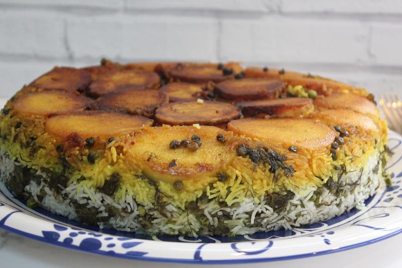 אורז פרסי ירוק עם תפוחי אדמה